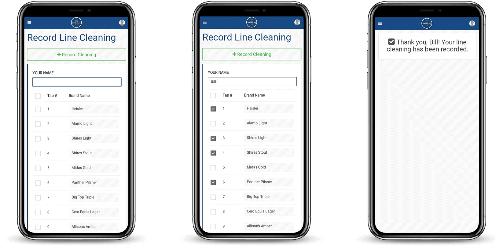 Electronic Line Cleaning Record