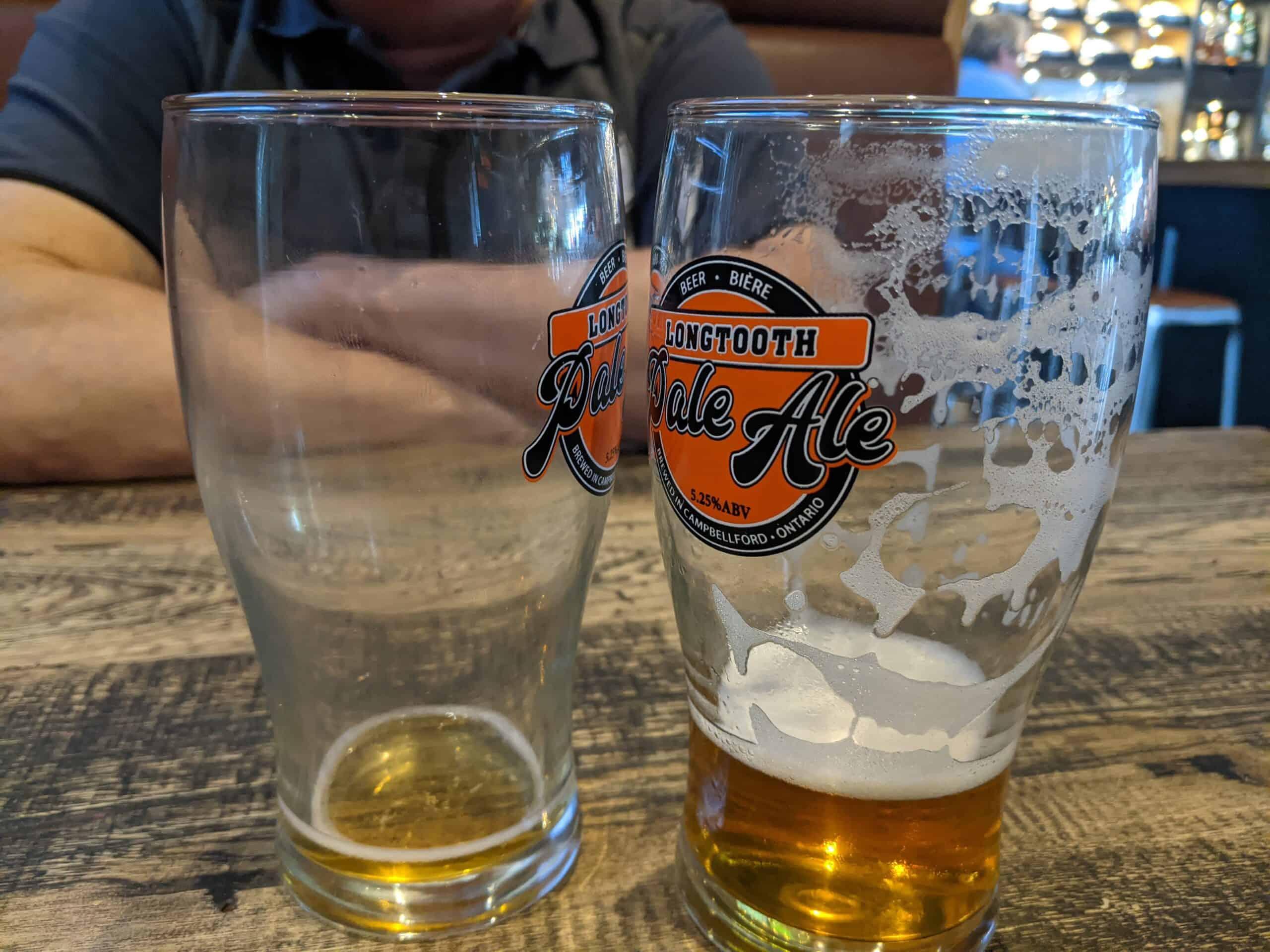 Dirty beer glass vs clean beer glass
